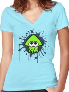 Splatterhouse - Green Squid Women's Fitted V-Neck T-Shirt