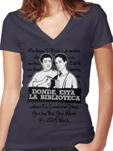 La Biblioteca   Community Women's Fitted V-Neck T-Shirt