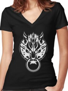 Cloud Strife's Wolf Emblem (White) Women's Fitted V-Neck T-Shirt