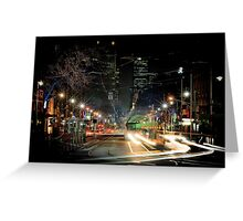 Bourke St, Melbourne, 9:25pm 20 July 2011 Greeting Card