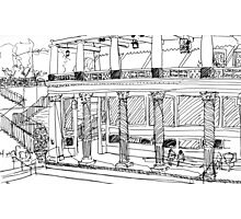 Getty Villa Pen and Ink Sketch Photographic Print