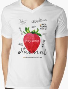 Watercolor strawberry Mens V-Neck T-Shirt