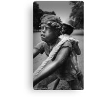 Little Warriors Revisited - Statue of Kids Playing Tug-Of-War Canvas Print