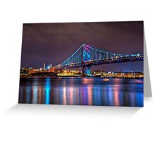 Benjamin Franklin Bridge at Night Greeting Card