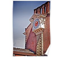 Clock on Brick Building Poster