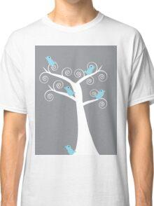 5 blue birds (gray background) Classic T-Shirt