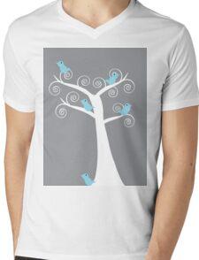 5 blue birds (gray background) Mens V-Neck T-Shirt