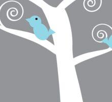 5 blue birds (gray background) Sticker