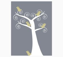 5 Yellow Birds in a Tree (Gray Background) Kids Clothes