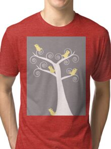 5 Yellow Birds in a Tree (Gray Background) Tri-blend T-Shirt