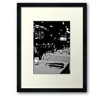 Restaurant in black and white Framed Print