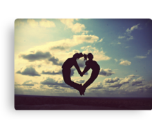 hands on our hearts, hearts in our sky Canvas Print
