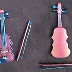 Miniature Violin with Bow by Joann Barrack