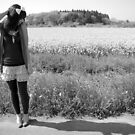 Girl by Field in black & white by Lauren Neely