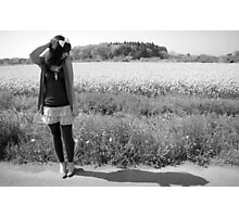 Girl by Field in black & white Photographic Print