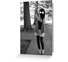 Distressed Girl in black and white Greeting Card