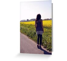 Girl by Flower Field I Greeting Card