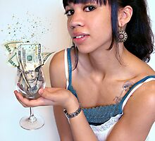 Girl with Cash in Wine Glass by Lauren Neely