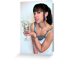 Girl with Cash in Wine Glass Greeting Card