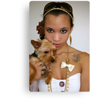 Girl holding Yorkie Canvas Print