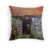 Ruined Farm Buildings on the Dairyland Road, Straid, County Antrim Throw Pillow