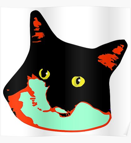 Electric Tuxie Face, Orange/Teal Poster