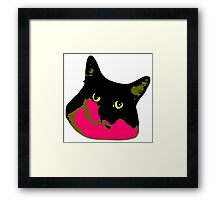 Electric Tuxie Face, Pink/Olive Framed Print