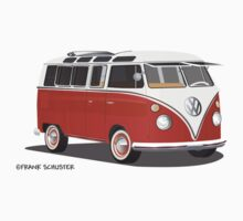 VW Bus T2 Samba Red Blk by Frank Schuster