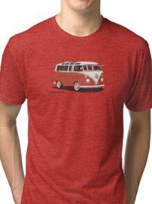 VW Bus T2 Samba Red Blk Tri-blend T-Shirt