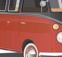 VW Bus T2 Samba Red Blk Whte Sticker