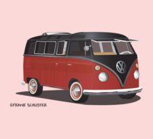 VW Bus T2 Samba Red Blk Blk One Piece - Short Sleeve