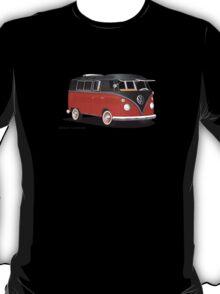VW Bus T2 Samba Red Blk Blk T-Shirt