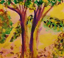 Early Fall, watercolor by Anna  Lewis, blind artist