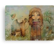 elephant kiss Canvas Print