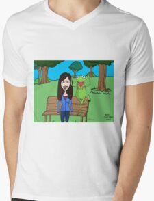 Krista Allen & Kermit the frog - tribute cartoon / comic art Mens V-Neck T-Shirt