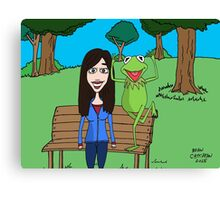 Krista Allen & Kermit the frog - tribute cartoon / comic art Canvas Print