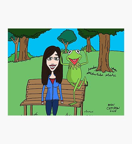 Krista Allen & Kermit the frog - tribute cartoon / comic art Photographic Print