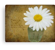 Praise is like the sunlight to warm the spirit Canvas Print