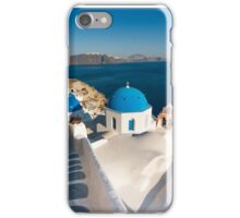 Famous Santorini blue dome churches, Greece iPhone Case/Skin