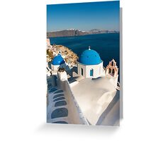 Famous Santorini blue dome churches, Greece Greeting Card