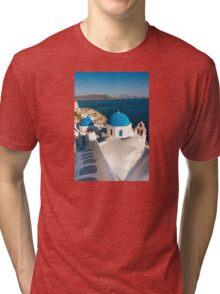 Famous Santorini blue dome churches, Greece Tri-blend T-Shirt