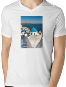 Famous Santorini blue dome churches, Greece Mens V-Neck T-Shirt