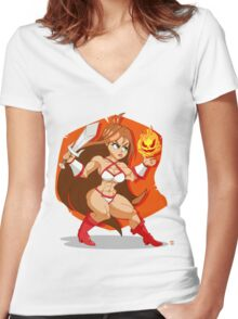 Flames of Fury (Golden Axe) Women's Fitted V-Neck T-Shirt