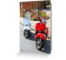 Red and White Scooters Greeting Card