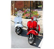 Red and White Scooters Poster