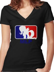 Major League Pony (MLP) - Fluttershy Women's Fitted V-Neck T-Shirt
