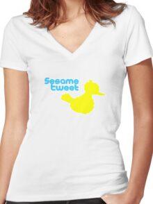 Sesame Tweet - Blue Text Women's Fitted V-Neck T-Shirt