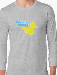 Sesame Tweet - Blue Text Long Sleeve T-Shirt