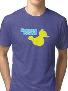 Sesame Tweet - Blue Text Tri-blend T-Shirt