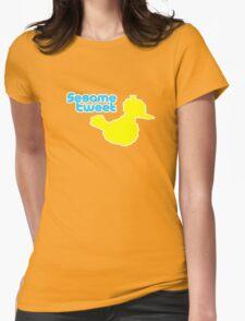 Sesame Tweet - Blue Text Womens Fitted T-Shirt